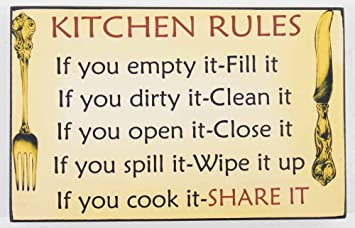 Contemporary Wood Wall Art   Message Plaque   Kitchen Rules Sign