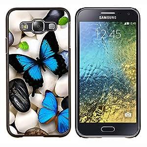 LECELL--Funda protectora / Cubierta / Piel For Samsung Galaxy E5 E500 -- Mariposa de neón iridiscente Pebble Art Blue --