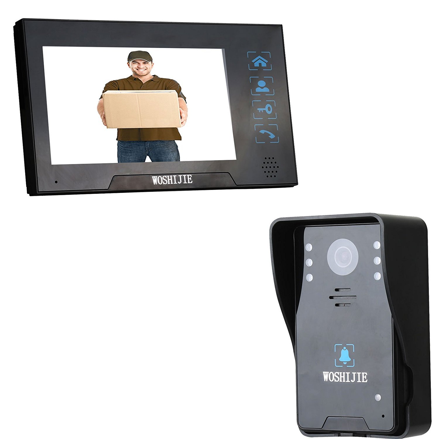 7 Inch Color LCD Wired Video Doorbell Phones Bells Chimes Rainproof Intercom IR Night Vision 1000 TVL HD COMS Camera Home Security Systems Black WOSHIJIE (One Camera One Monitor)