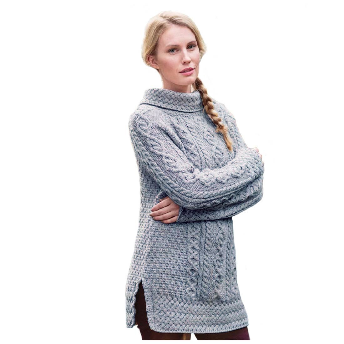 Carraig Donn Women's Long Irish Sweater Large Beige by Carraig Donn