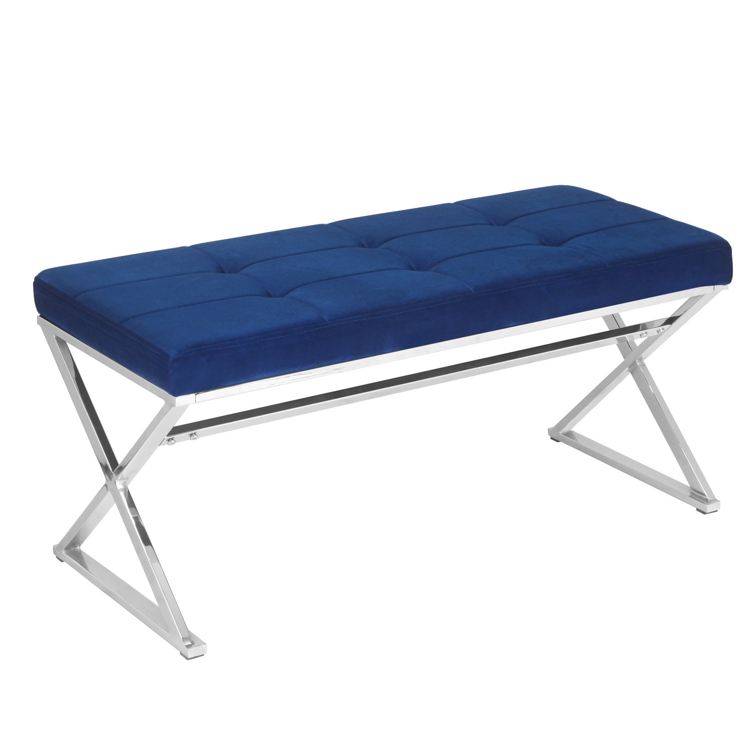 Adeco Metal Bench Entryway Footstool Seat Upholstered in Button, Tufted Linen Fabric - Blue
