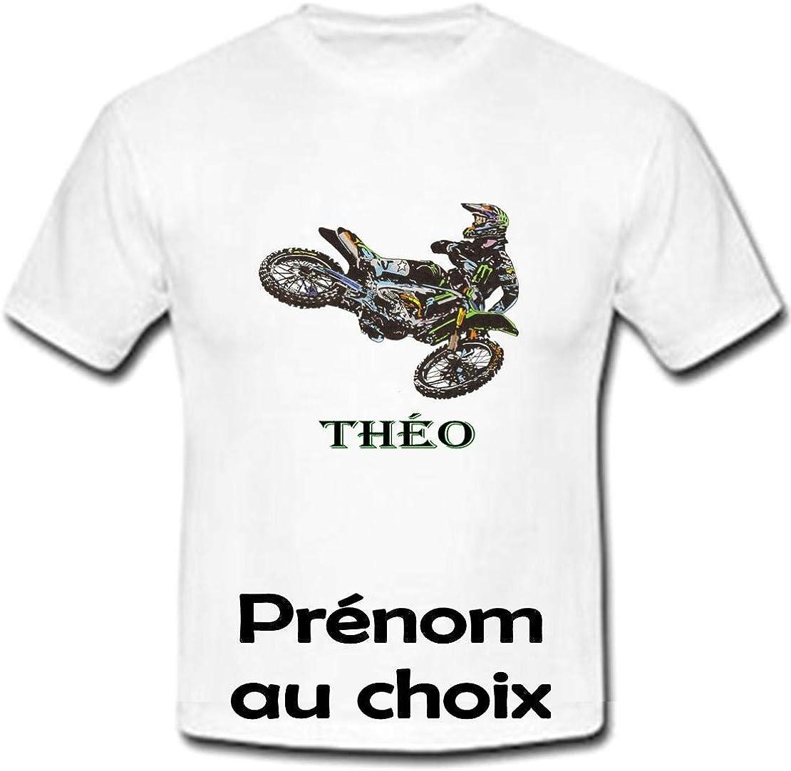 GRAVOPHOTO Tshirt personnalis/é Moto Cross pr/énom et Taille au Choix
