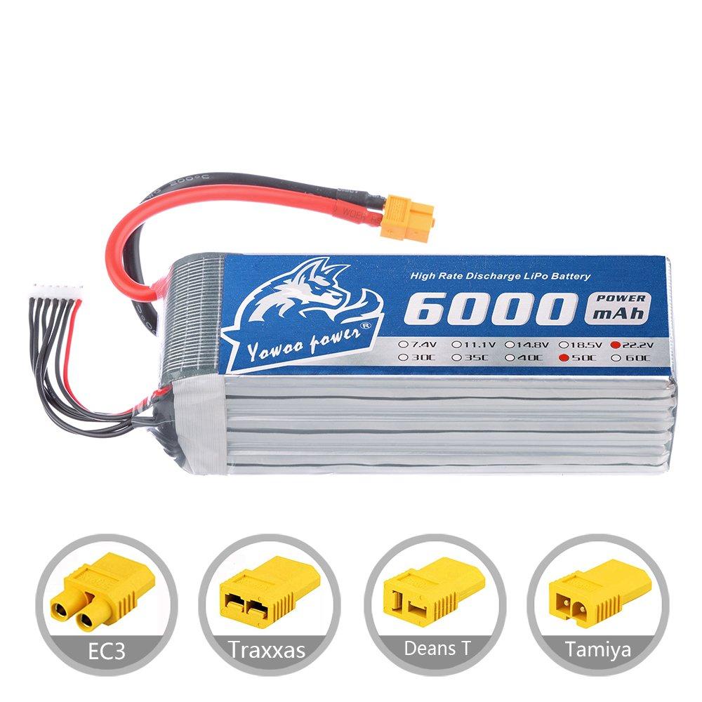 YoWoo 6s Lipoバッテリー6000 mAh 22.2 V 50 C 100 for RCクアッドコプターヘリコプター車トラックボート趣味( 6.1 X 1.89 X 2.1で、1.9lb ) YW5006BT B077RWF63S EC5