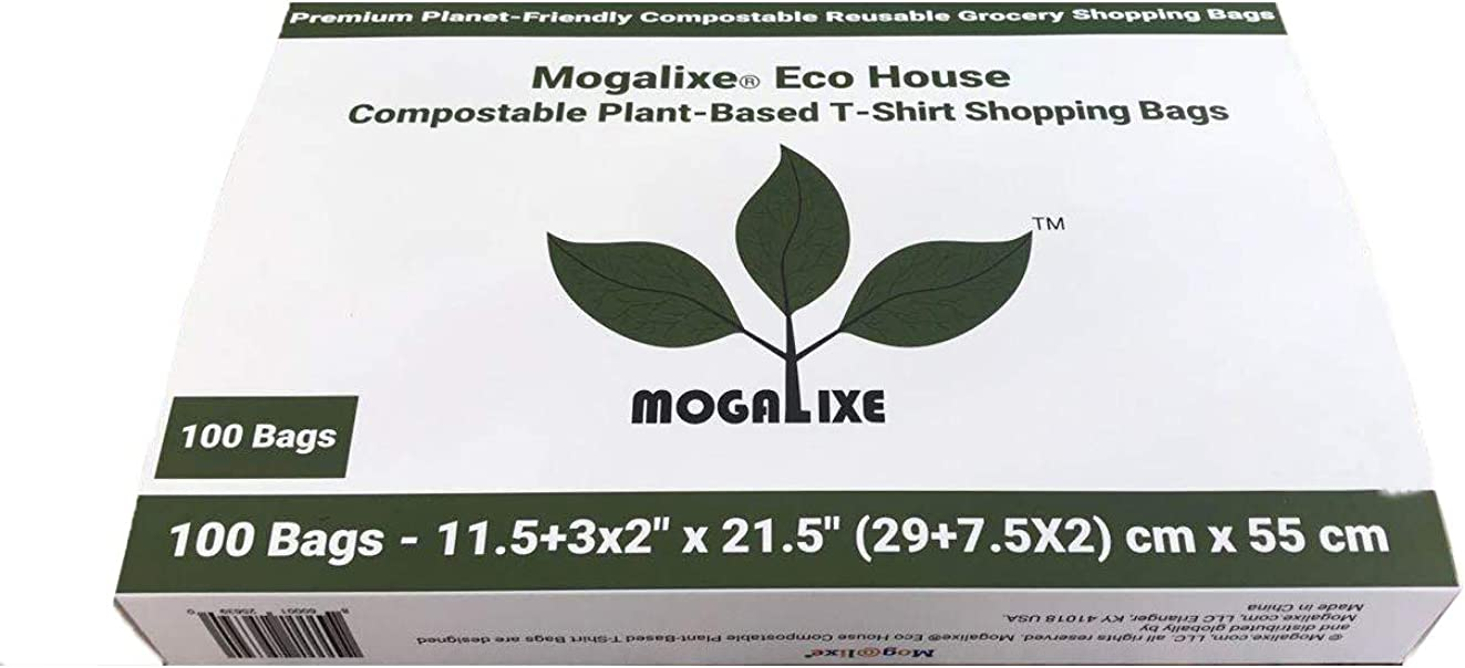 MOGALIXE 100% Compostable Reusable T-Shirt Bags...