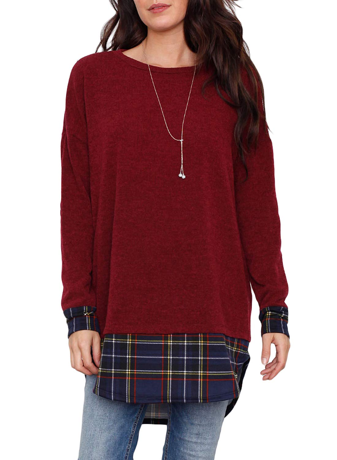 FARYSAYS Women's Casual Long Sleeve Crewneck Loose Plaid Patchwork Tunic Top Blouse T-Shirt Red XX-Large