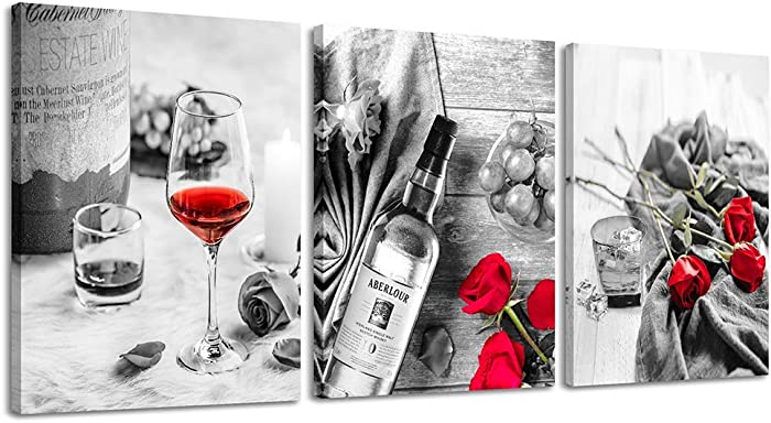 Canvas Wall Art Decor Wine Painting Artwork Poster Red Wine In Cups With Ice Rose Black White Canvas Wall Art Print Framed Pictures Red Rose Poster Giclee For Kitchen Bar Home Decorations 3 Piece