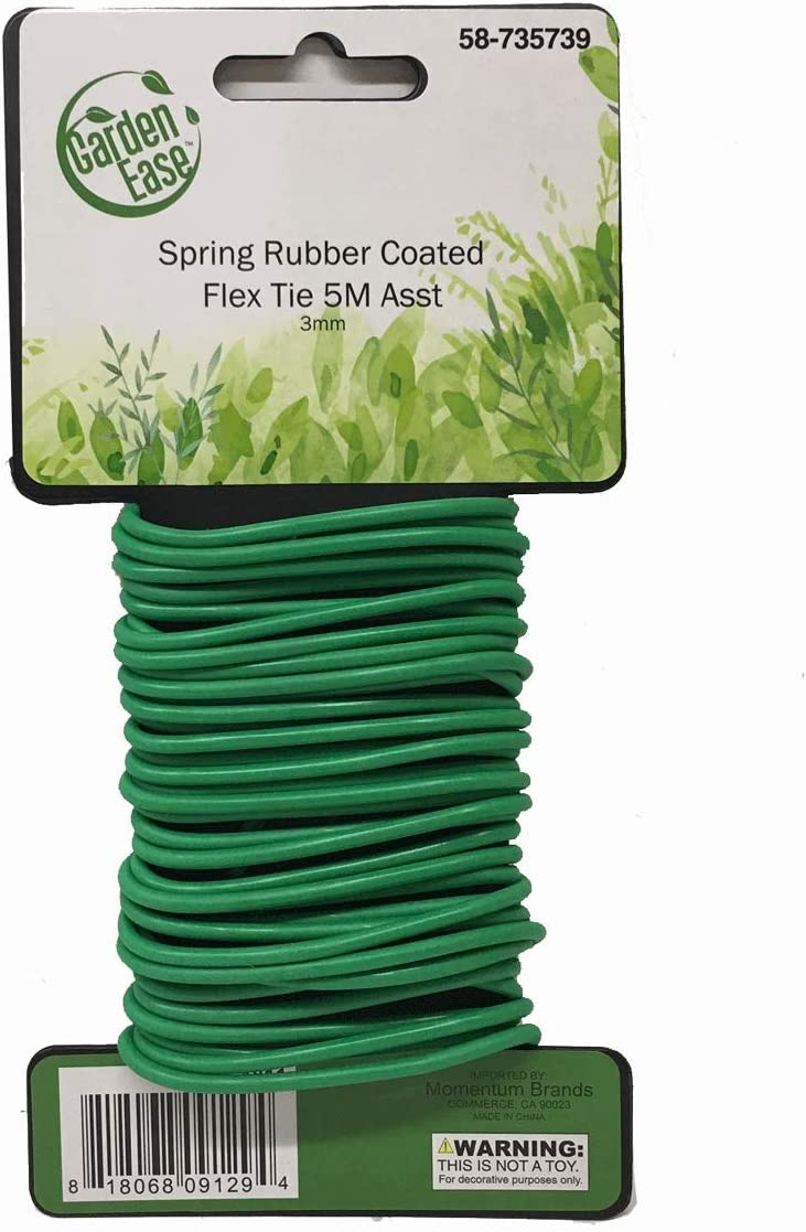 3mm Diameter - 5M (16.4FT) Length Spring Soft Rubber Coated Flex Tie - Multi Purpose Garden Flexible Tie Plant Wire Soft Twist Ties Support Plant Vines, Stems & Stalks