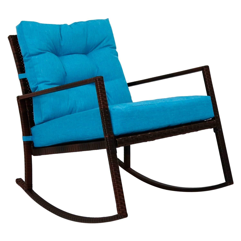 Kinbor Rattan Rocker Chair Outdoor Garden Rocking Chair Wicker Lounge w/Cushion (Blue)