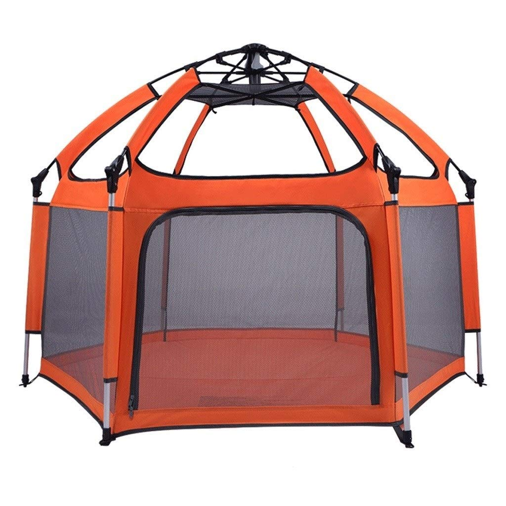 Baby playpen Foldable Child Safety Playpen with Awning Baby Play Fence for at Home, Traveling, Park Or Beach (Color : Orange, Size : 150130100cm) by LIL Baby playpen