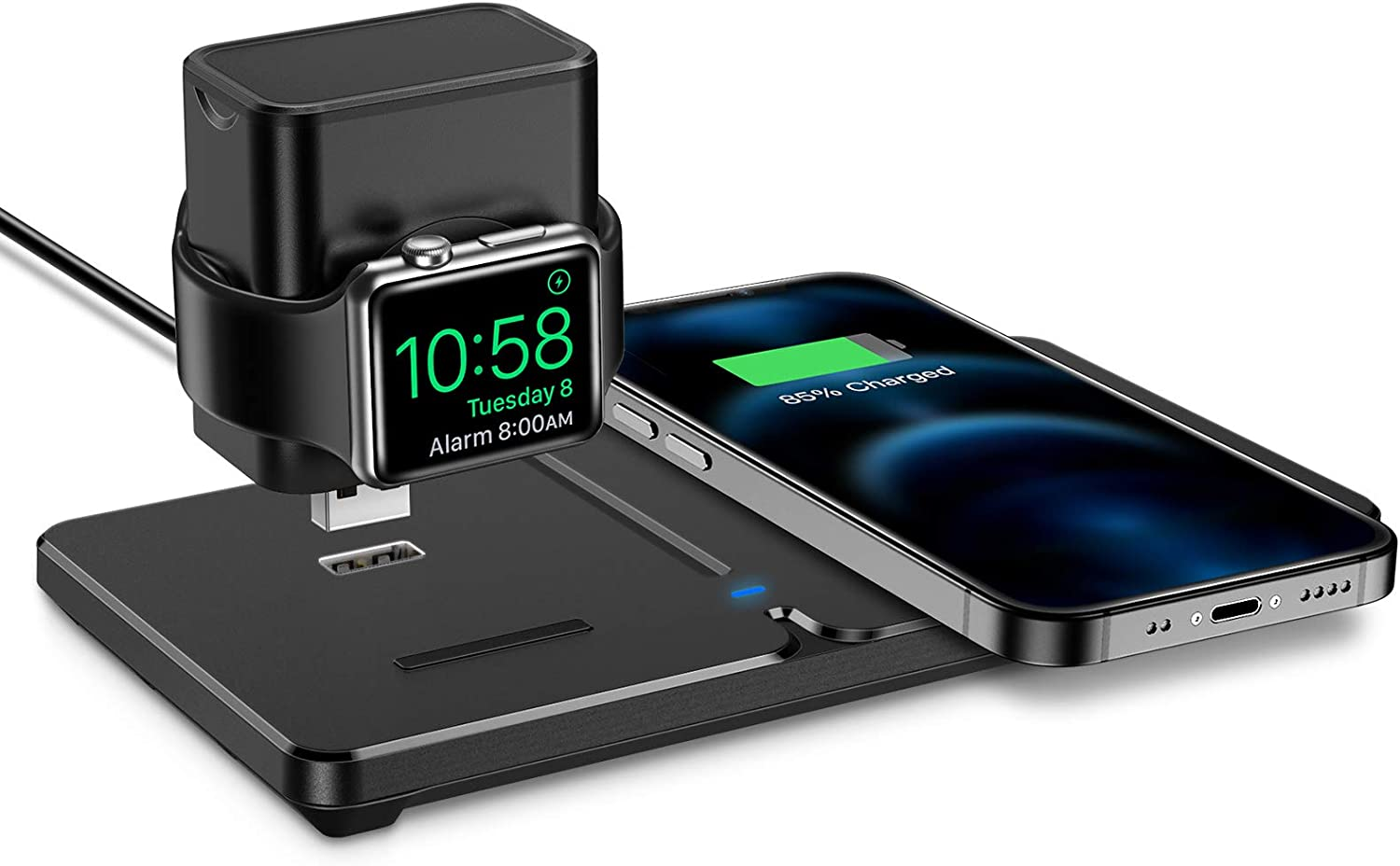 ESR 2-in-1 Wireless Charger [Detachable Smartwatch Charging Stand] [15W Fast Wireless Charging] Compatible with iPhone 12/11/XS/XR/8/8 Plus, AirPods Pro/2, iWatch 5/4/3/2 (No Adapter)