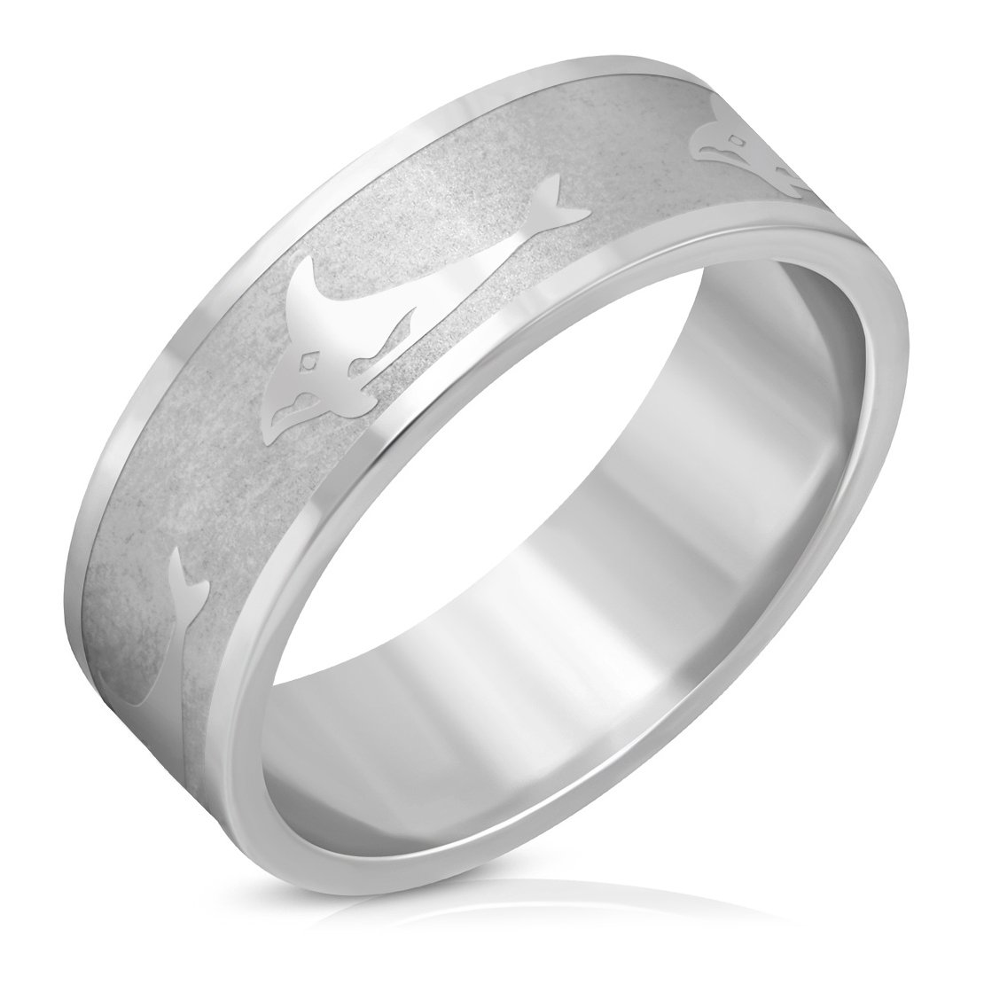 Stainless Steel Matte Finished Shark Fish Flat Band Ring