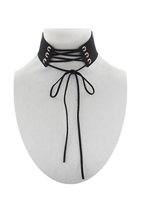 5727f52a5a1 Image Unavailable. Image not available for. Color  Womems Suede String Lace  Up Corset Choker Necklace NE7959 (Black)