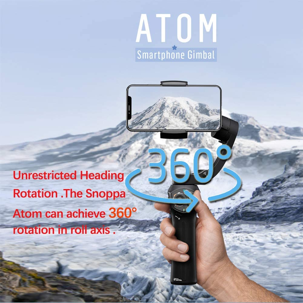 Snoppa Atom 3-Axis Foldable Pocket Sized Handheld Gimbal Stabilizer 310g Payload for GoPro Hero 4 5 6 iPhone Smartphone /& Wireless Charging /& 24 H Running time