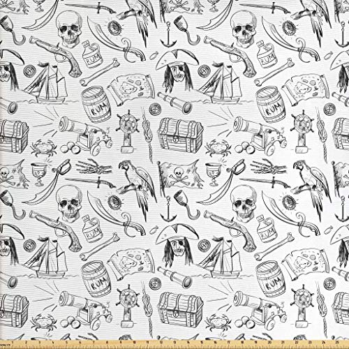 (Ambesonne Pirates Fabric by The Yard, Doodle Drawing Style Pattern with Rum Barrels Swords Guns Skulls Treasure Maps, Decorative Fabric for Upholstery and Home Accents, 1 Yard, Black White)