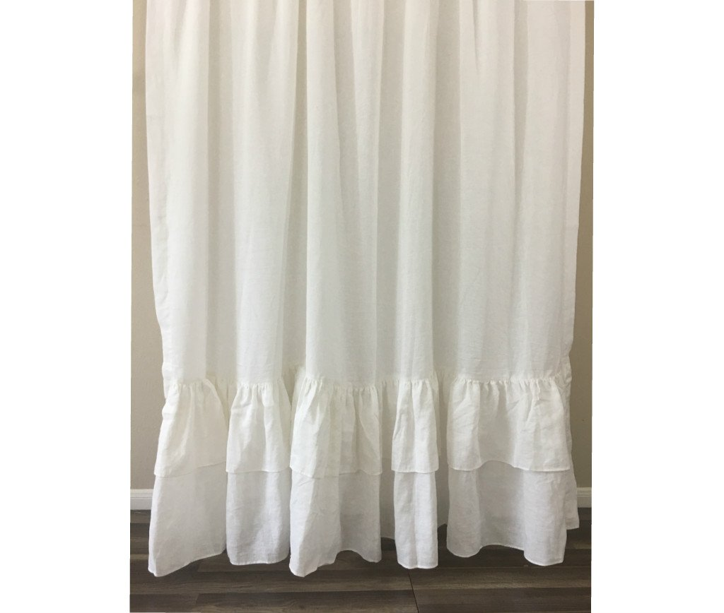 White Curtain with Double Layers of Mermaid Long Ruffles, , 100% Linen, Custom Curtains