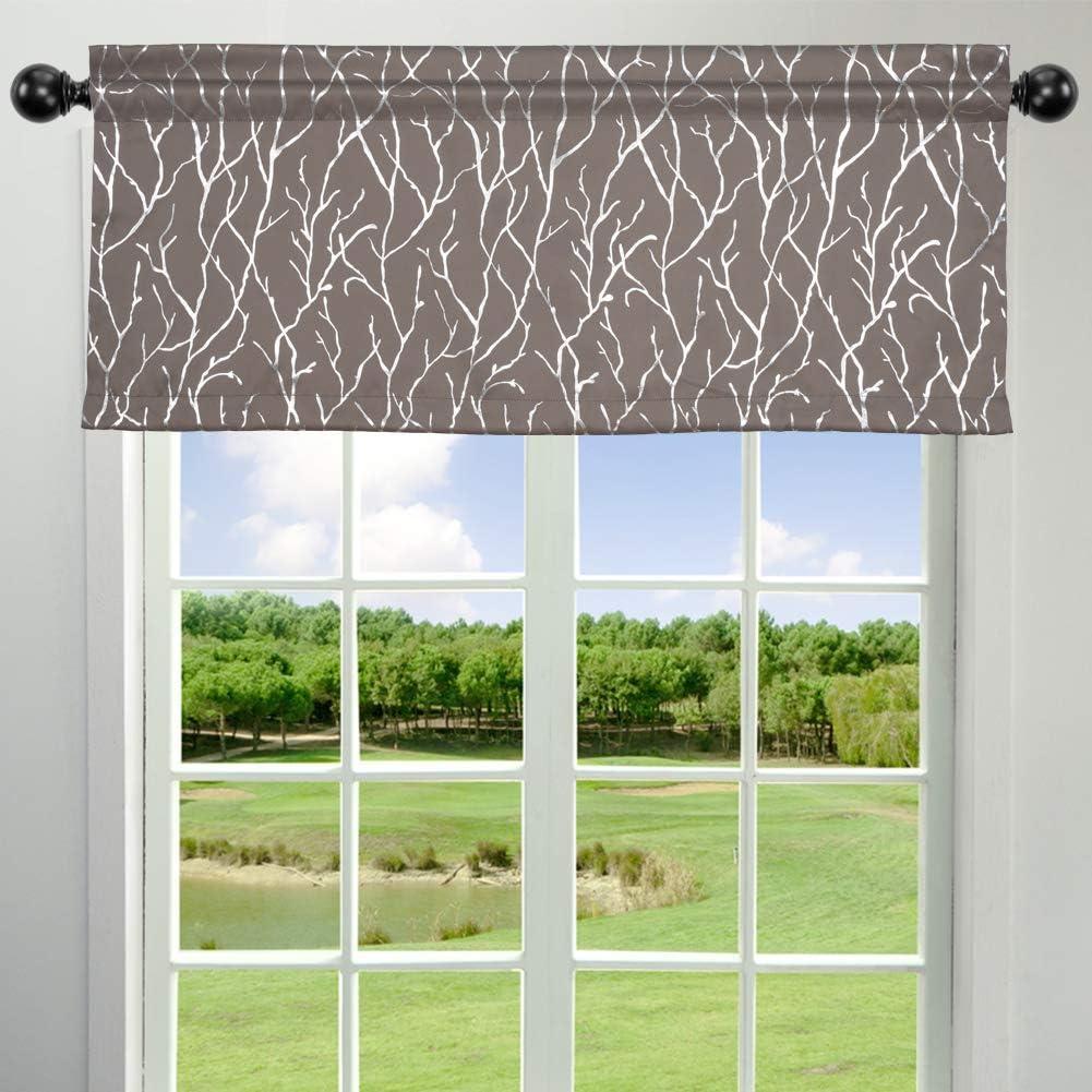 Kotile Branch Pattern Kitchen Window Valance - Metallic Silver Tree Design Darkening Window Curtain Valance Rod Pocket 52 Inch by 18 Inch Plus 2 Inch Header, Kingsport Grey, 1 Pack