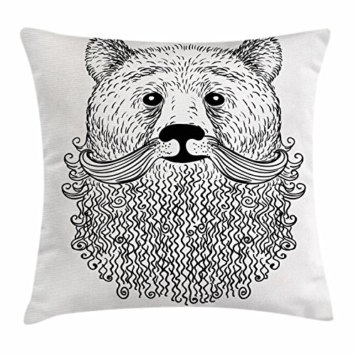Indie Throw Pillow Cushion Cover by Ambesonne, Doodle Style Sketch Bear Portrait with Curly Beard and Mustache Cute Cool Animal, Decorative Square Accent Pillow Case, 18 X 18 Inches, Black - Beards Popular Styles