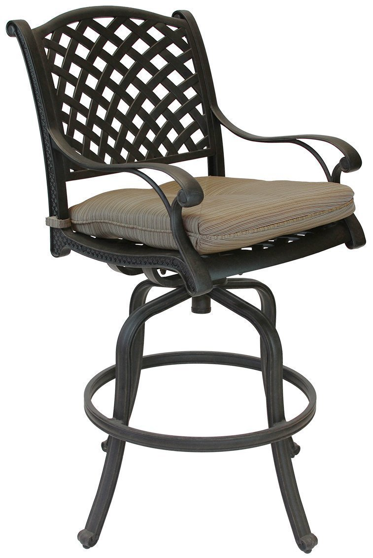 Antique Bronze 24 H K/&B PATIO LD1031-7c24 Nassau Bar Stool with Cushion