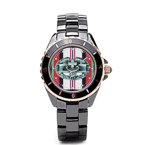 sjfy reloj de pulsera correas Afganistán medalla de campaña Afganistán cerámica banda relojes para hombres