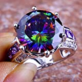 Estate Rainbow & White Topaz Amethyst Gemstone Silver Ring Size 6 7 8 9 10 11 12#by pimchanok shop (7, Rainbow Topaz)