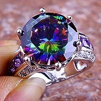 Estate Rainbow & White Topaz Amethyst Gemstone Silver Ring Size 6 7 8 9 10 11 12#by pimchanok shop (8, Rainbow Topaz)