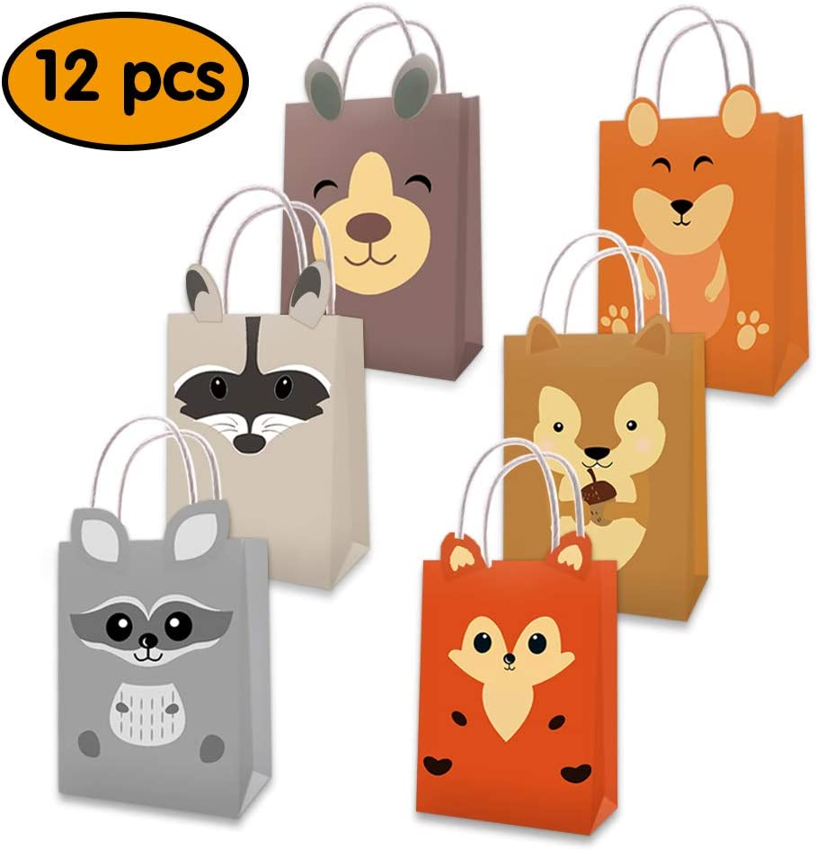 Mity rain Woodland Animal Party Favor Bags/Forest Creatures Candy Gift Treat Goody Bags Kraft Paper Bags with Handles Centerpiece Decorations for Kids Forest Friends Themed Birthday Baby Shower Party