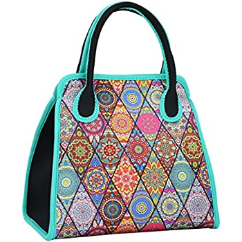 QOGiR Reusable Insulated Neoprene Lunch Bag Tote Purse Boxes-The Unique Design of National Style for Women Girls and Teen Girls (Black Diamond)