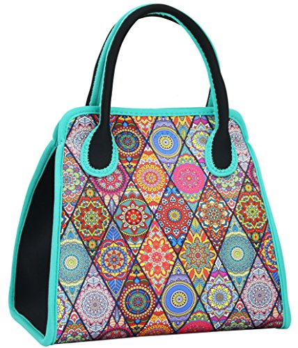 QOGiR Reusable Insulated Neoprene Lunch Bag Tote Purse Boxes-The Unique Design of National Style for Women Girls and Teen Girls (Colorful Diamond)