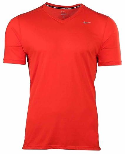 fa38b1898 Nike Men's Dri-Fit Tailwind V-Neck Running Shirt-University Red-Small