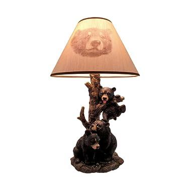 Black Bear Family Table Lamp W/Tree Bark Print Shade