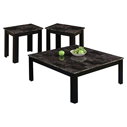 Monarch I 7988P Marble Look Top 3 Piece Square Table Set, Black/