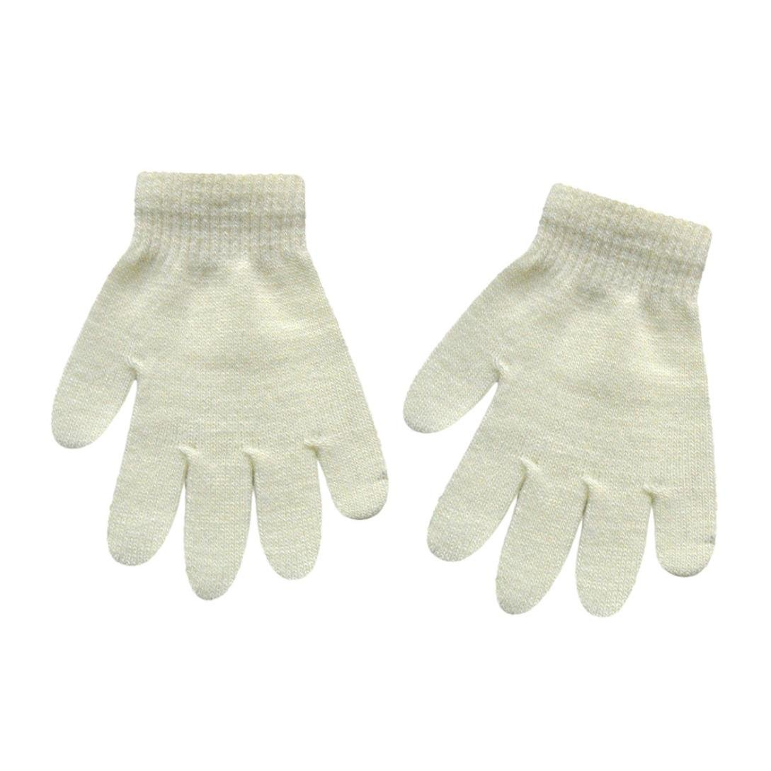 LandFox Infant Baby Cute Solid Print Winter Warm Gloves White