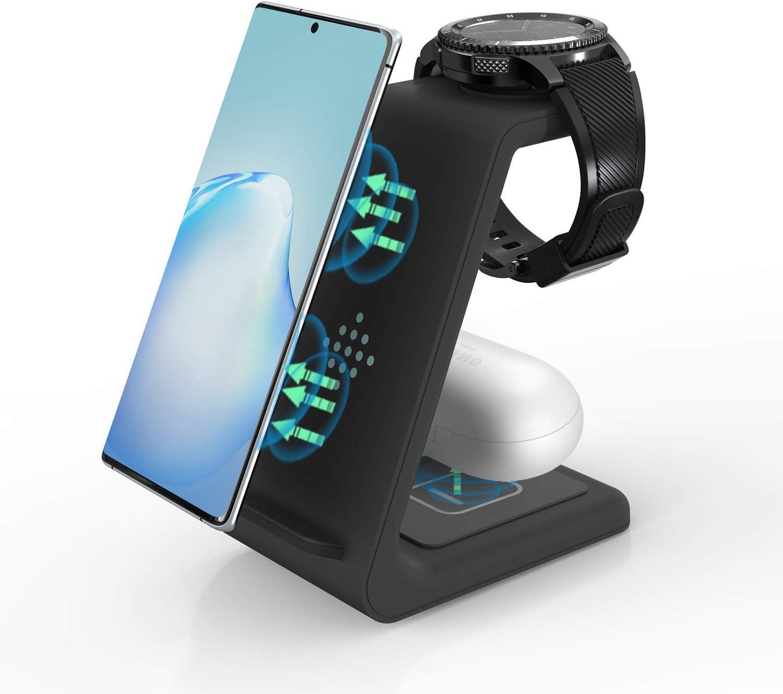 ZHIKE Cargador inalámbrico, 3 en 1 10W de Carga rápida Certificado por Qi, Compatible con iPhone 11 Series/XS/XR/X / 7/8 Plus, Huawei, Samsung S10 / S10 +, Airpods, Galaxy Watch y Buds