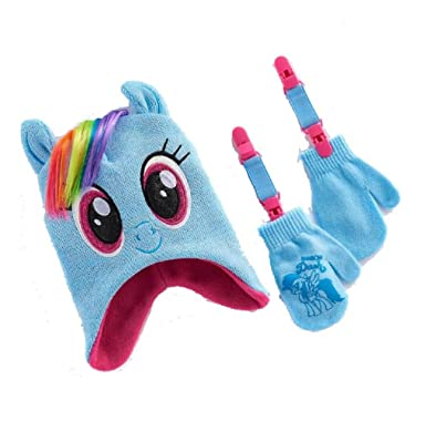 98f7acfd50a My Little Pony Rainbow Dash Girls Winter Beanie Hat and Gloves Set with  Bonus Mitten Clips  Amazon.in  Clothing   Accessories
