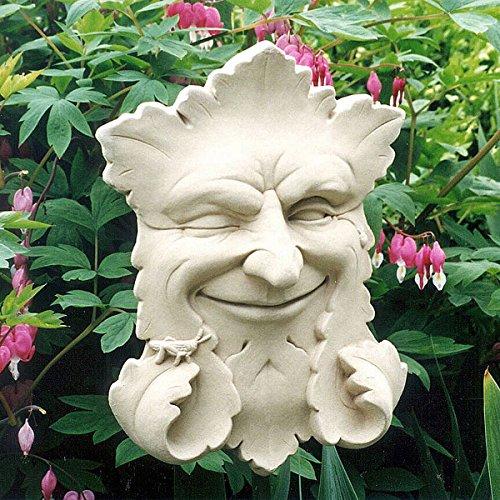 (KensingtonRow Home Collection Wall Sculptures - Smiling Green Man Stone Wall Sculpture - Natural Stone Finish - Garden Plaque)