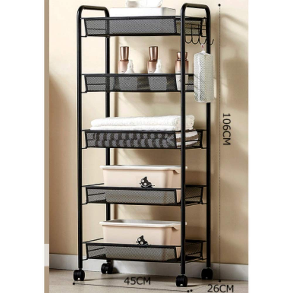 Kitchen shelf HUO Sturdy Rolling Cart Multifunction Home (Black) - 3/4/5 Layer Multifunction (Size : 4526106cm)