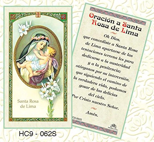 Oracion a Santa Rosa de Lima Paper Prayer Cards - Pack of 100 - - Stores Rosa Santa