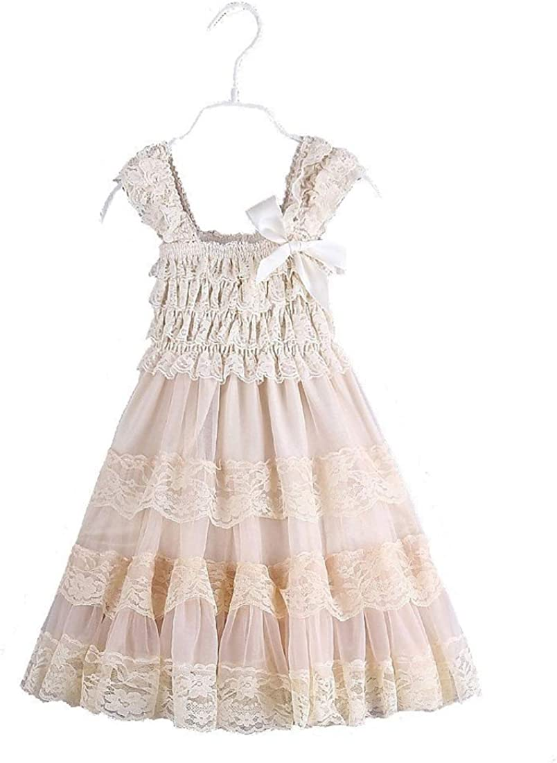 2016 lace Flower Rustic Burlap Girl Baby Country Wedding Flower Dress