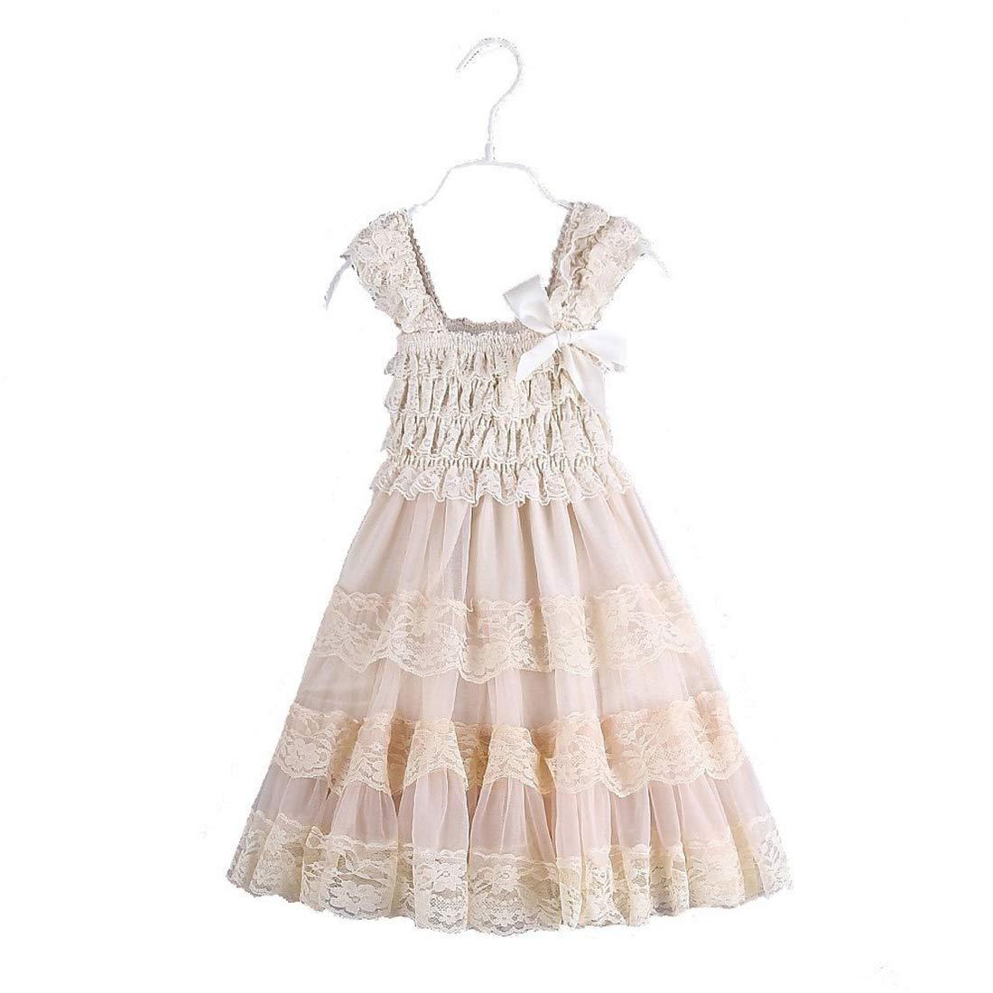 2016 encaje flor rústica arpillera niña bebé país boda flor vestido