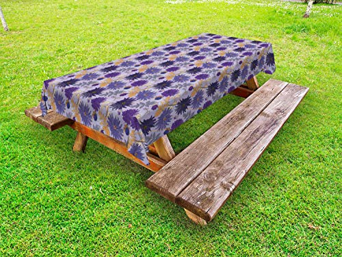 - Lunarable Floral Outdoor Tablecloth, Romantic Bouquet of Purple Garden Asters Flowers and Wild Herbs Foliage Composition, Decorative Washable Picnic Table Cloth, 58 X 104 Inches, Multicolor