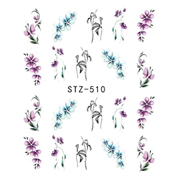 3f4ff60f0325 Amazon.com: 1pcs Nail Sticker Butterfly Flower Water Transfer Decal Sliders  For Nail Art Decoration Tattoo Manicure Wraps Tools Tip JISTZ508 STZ510:  Beauty