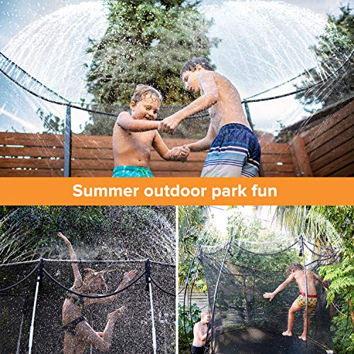 MOAOO Trampoline Sprinkler, Outdoor Trampoline Water Play Sprinklers for Kids, Fun Summer Water Game Toys Sprinklers Backyard Water Park for Boys Girls Trampoline Accessories (39ft)