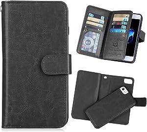 Hynice iPhone 8Plus/7Plus/6SPlus/6Plus 2 in 1 Wallet Case PU Leather Case Magnetic Detachable Slim Back Cover Card Holder Slot Wrist Strap Wallet Case for iPhone 8Plus/7Plus/6SPlus/6Plus 5.5