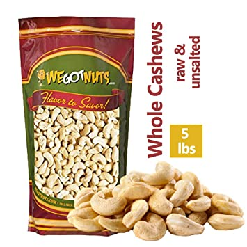 Cashews, Whole, Raw, 320, Bulk Nuts - We Got Nuts (5 LBS )