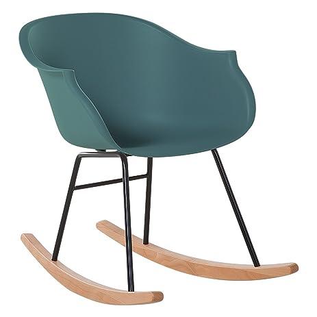 Modern Scandinavian Rocking Chair Natural Wood And Plastic Emerald Green  Harmony