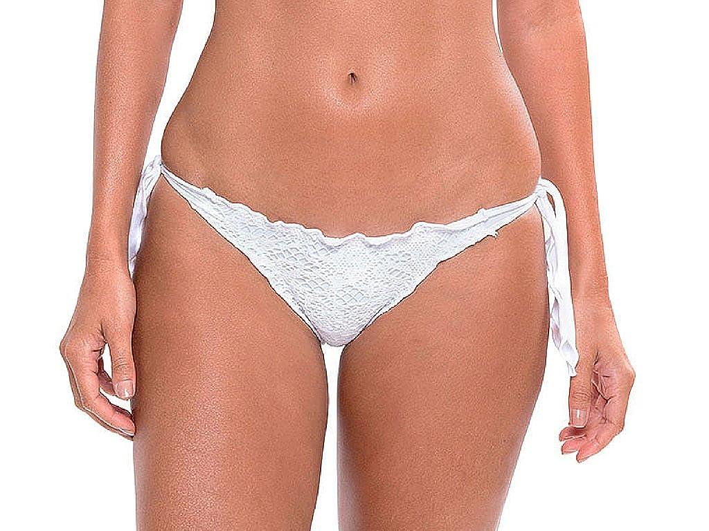33662b1cae8 Amazon.com  White Cheeky Bikini Bottoms. Ruffle Brazilian Swimsuit Bottoms.  Women s Bathing Suit (Medium)  Clothing