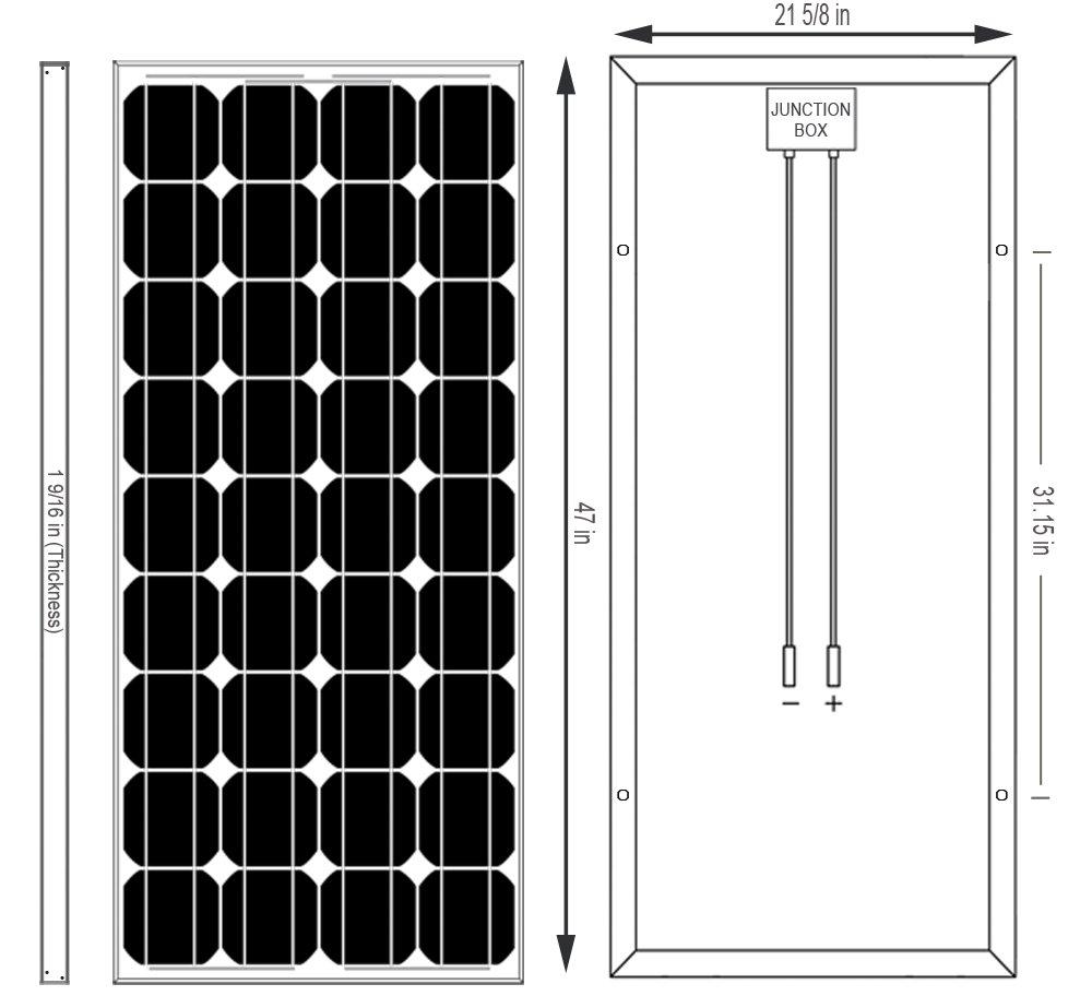 Ramsond 100 Watt 100w W Monocrystalline Photovoltaic Pv Hawker Powersource Battery Cell Diagram Solar Panel Module 12v Charging Systems Panels Garden