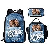 HUGS IDEA Denim Pocket Kitten Print Backpack for Teen Girls Funy School Book Bag with Lunchbox Pencil Pouch Set