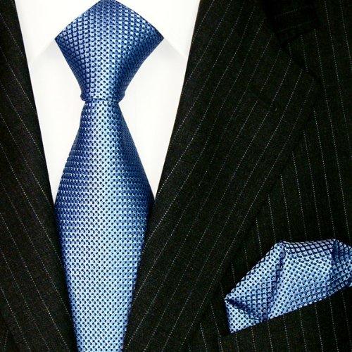 Lorenzo Cana 8447001 Marken 2er Set aus 100/% Seide- Blau Hellblau Krawatte mit Einstecktuch Kleinen schwarzen Punkten