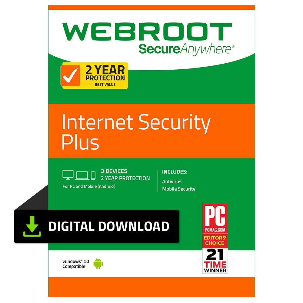 Webroot Internet Security Plus with Antivirus Protection - 2019 Software  | 3 Device | 2 Year Subscription | PC Download by Webroot